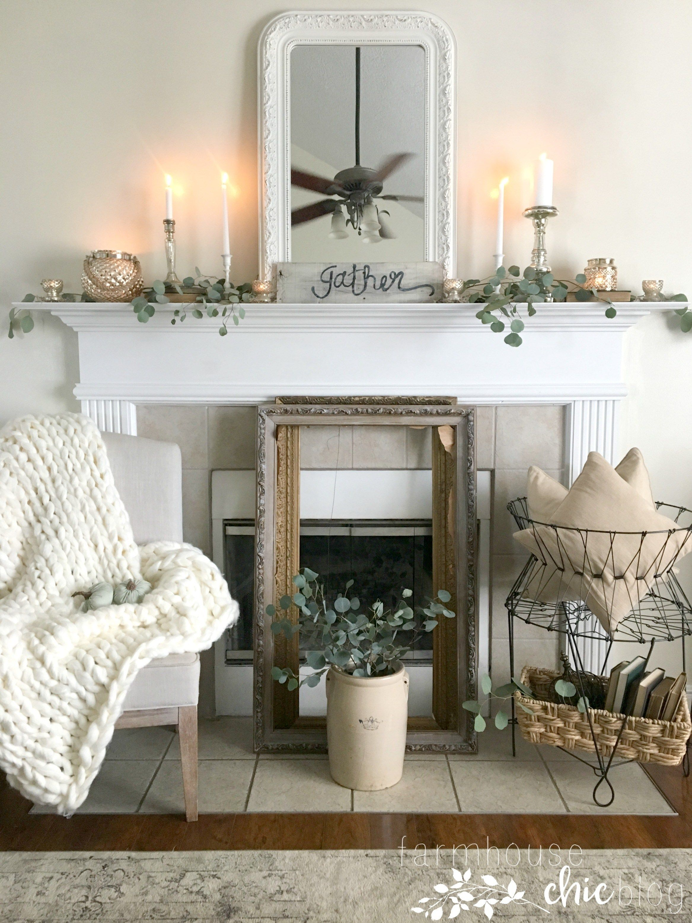 Simple, Neutral Early Fall Mantel   Fall living room decor ...