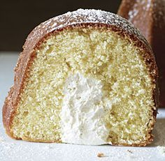 Twinkie Bundt Cake Recipe ~ It's golden and terrifically moist, and its cream-filled cross-section is an instant joy-inducer!