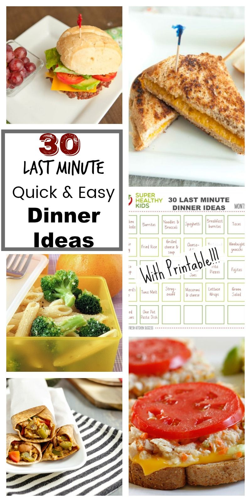 30 Last Minute Dinner Ideas with Printable calendar! | Dinner ideas ...