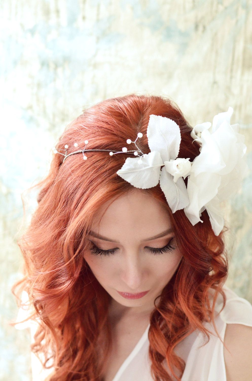 White Flower Headband Vintage Wedding Hair Crown Millinery