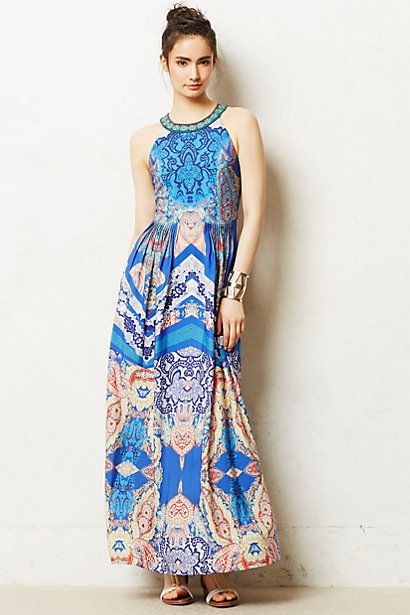 Trulli short-sleeve side-ruched maxi dress