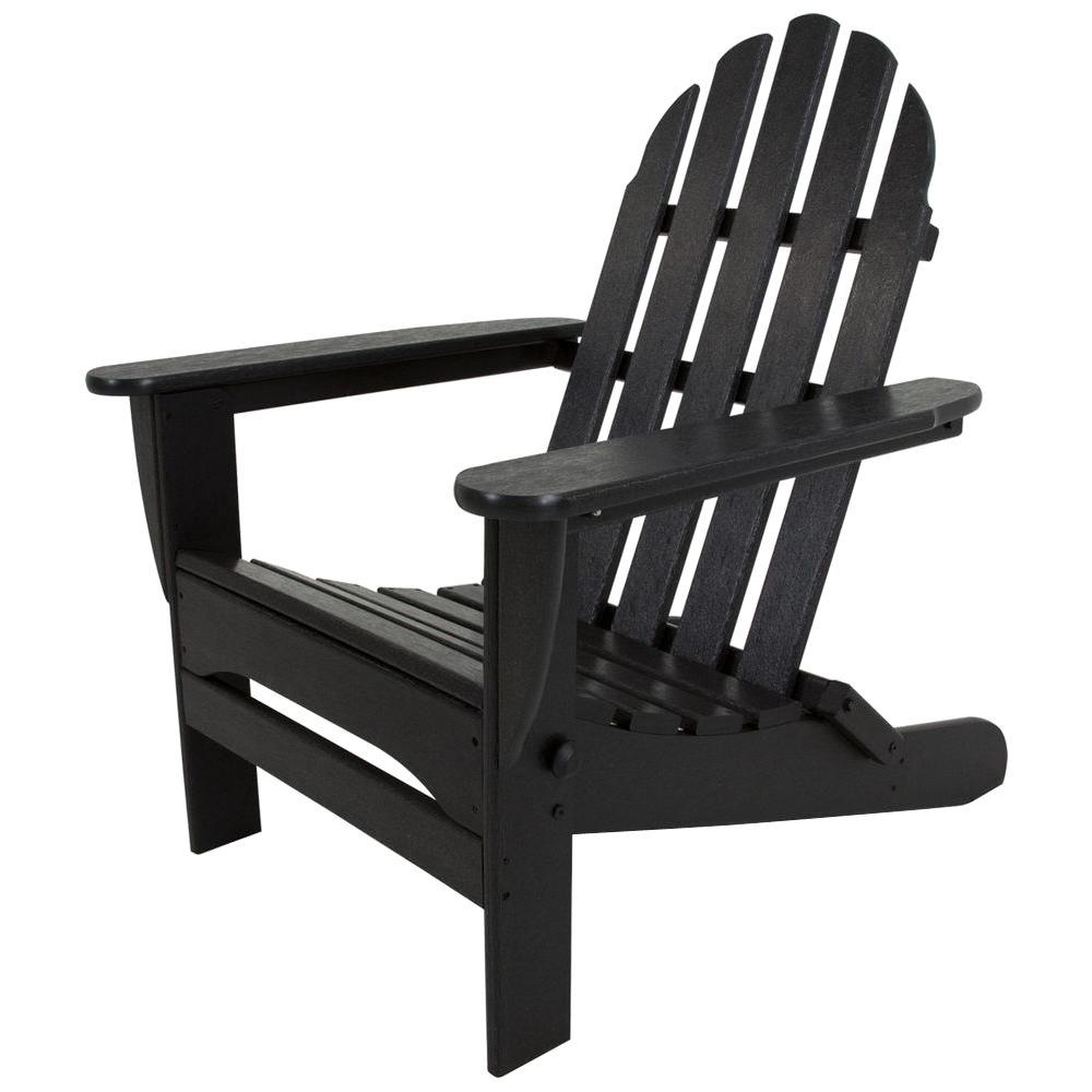 Polywood Classic Black Plastic Patio Adirondack Chair Ad5030bl