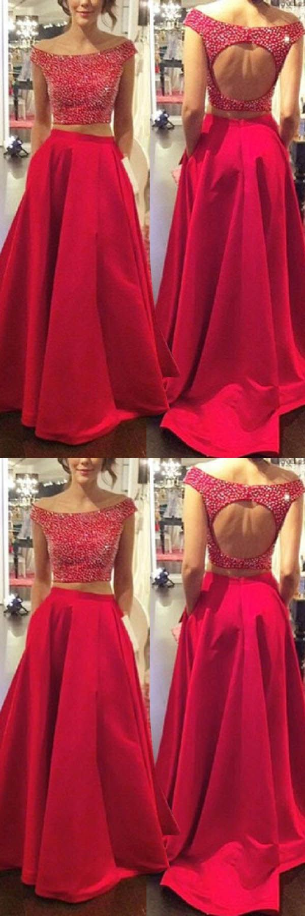 Two piece offtheshoulder open back prom dresses with beading pg