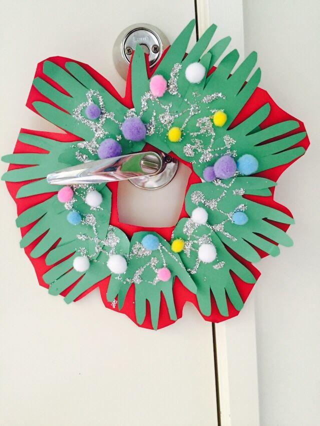 Handprint door handle wreath