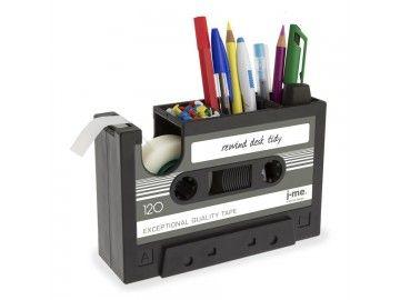 Pot à crayons et dérouleur de scotch Cassette audio