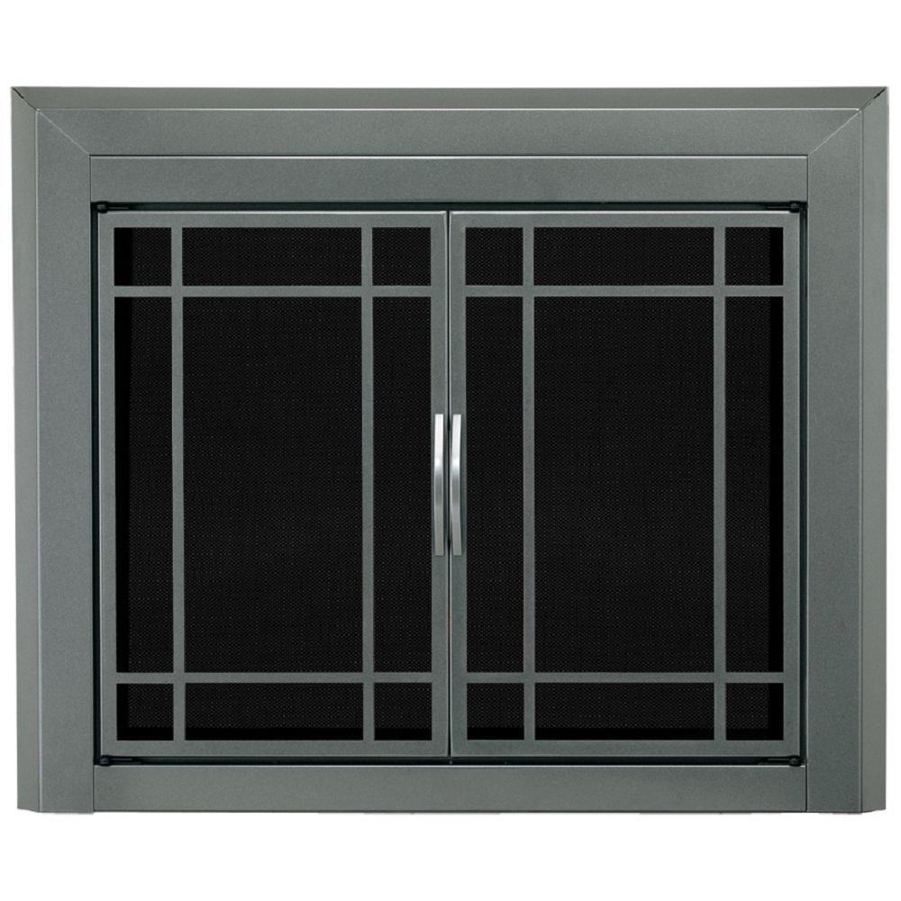 Pleasant Hearth Edinburg Medium Glass Fireplace Doors Fireplace