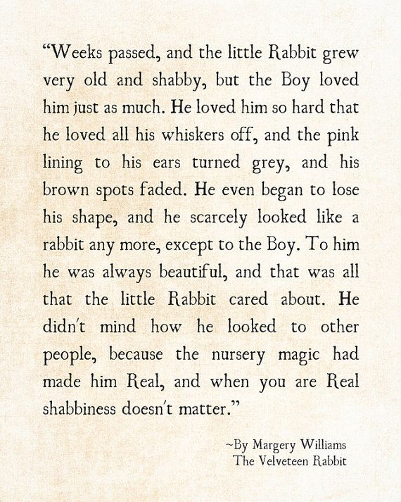Velveteen Rabbit Quote Margery Williams, Literary Print, Love