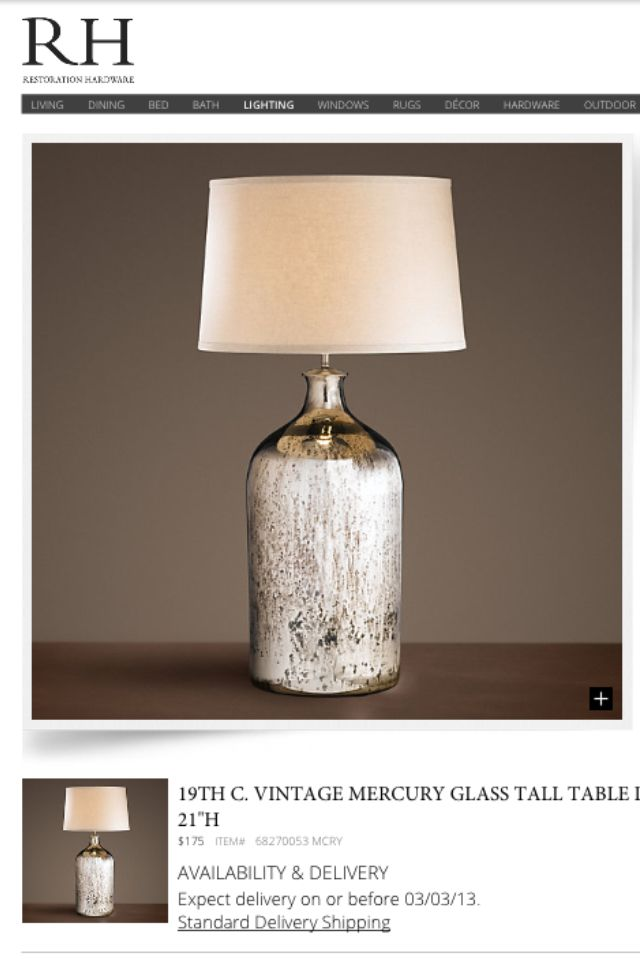 Restoration Hardware Mercury Glass Table Lamp