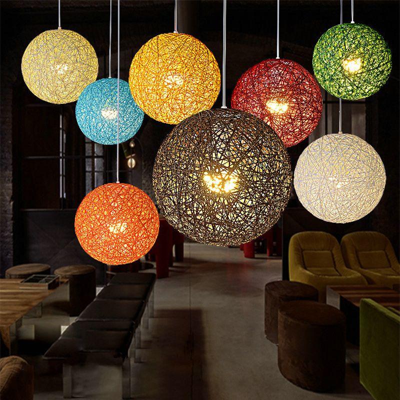 Pas cher Chanvre Ballon Lustre Mode Européenne Contracté salle À - lustre pour salle a manger