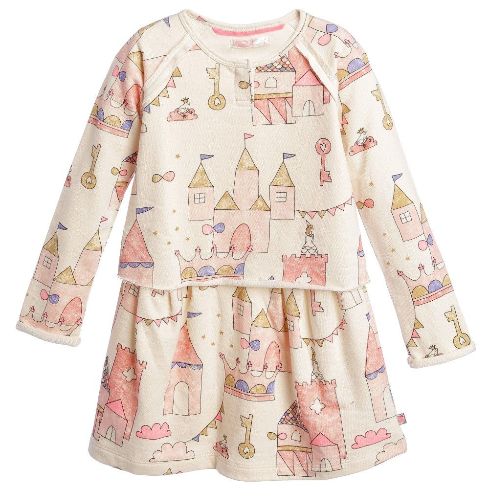 Girls ivory dress by Billieblush made from a lightweight sweatshirt jersey with soft woven inside feel. With a pink castle and princess print, this fun design has long sleeves and an attached top to make it look like a top and skirt.<br /> <ul> <li>100% cotton (sweatshirt jersey with soft woven inside feel)</li> <li>Unlined</li> <li>Machine wash (30*C)</li> <li>One piece</li> <li>Raw edged seams on the shoulders and sleeves</li> </ul>