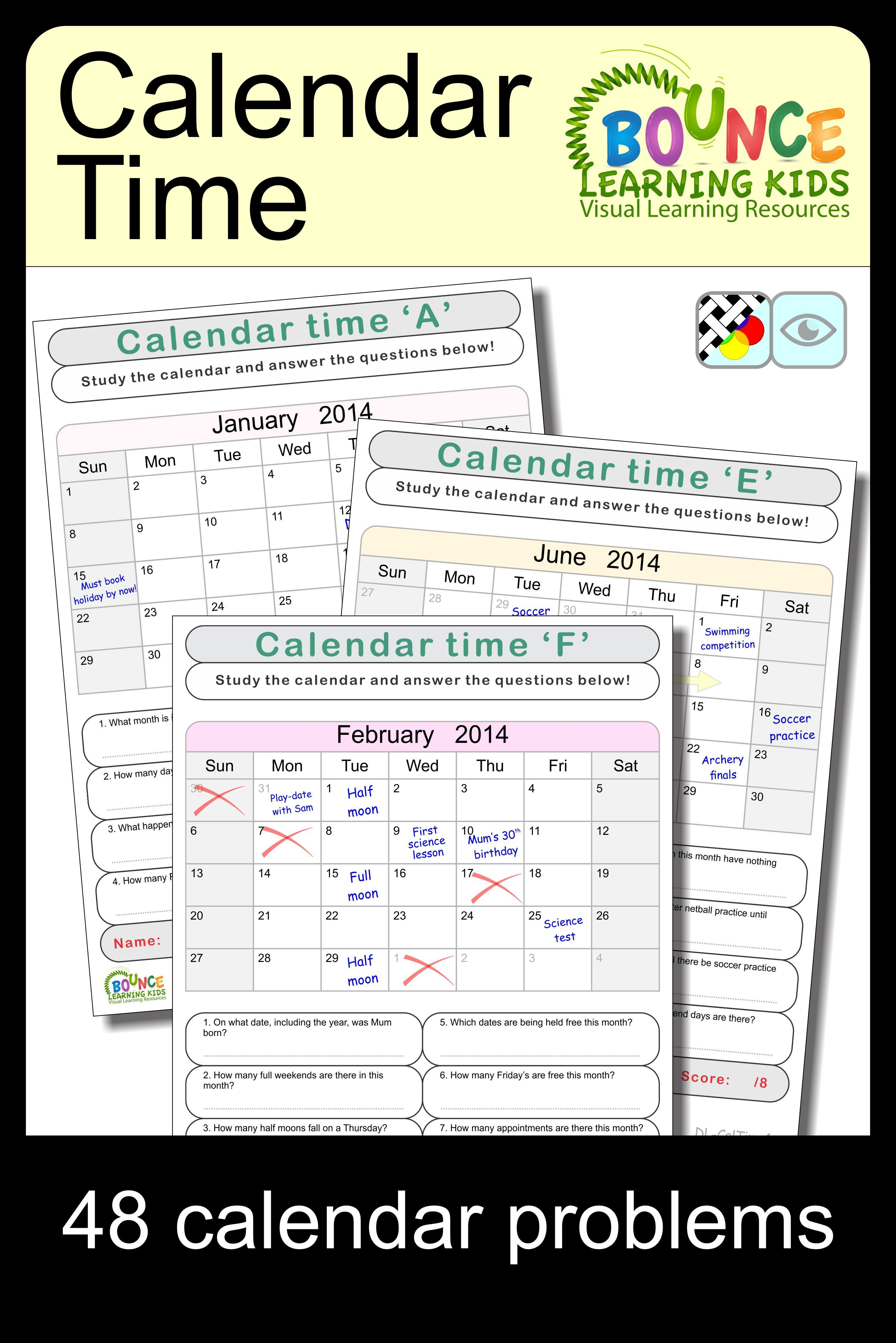 Calendar Time 6 Distance Learning Worksheets For Visual