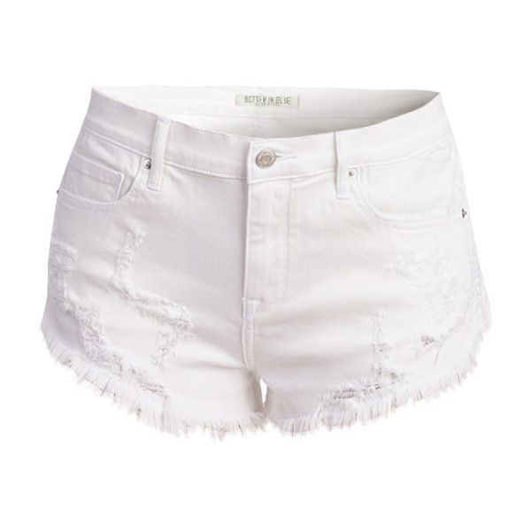 0df61153 WHITE FRINGED DENIM SHORTS ❤ liked on Polyvore featuring shorts ...