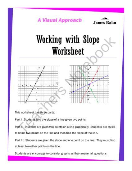 Working With Slope Worksheet From Jamesrahn On Teachersnotebook Com 7 Pages Are You Looking For A Worksheet On Homeschool Math Graphing Middle School Math 8th grade slope worksheets