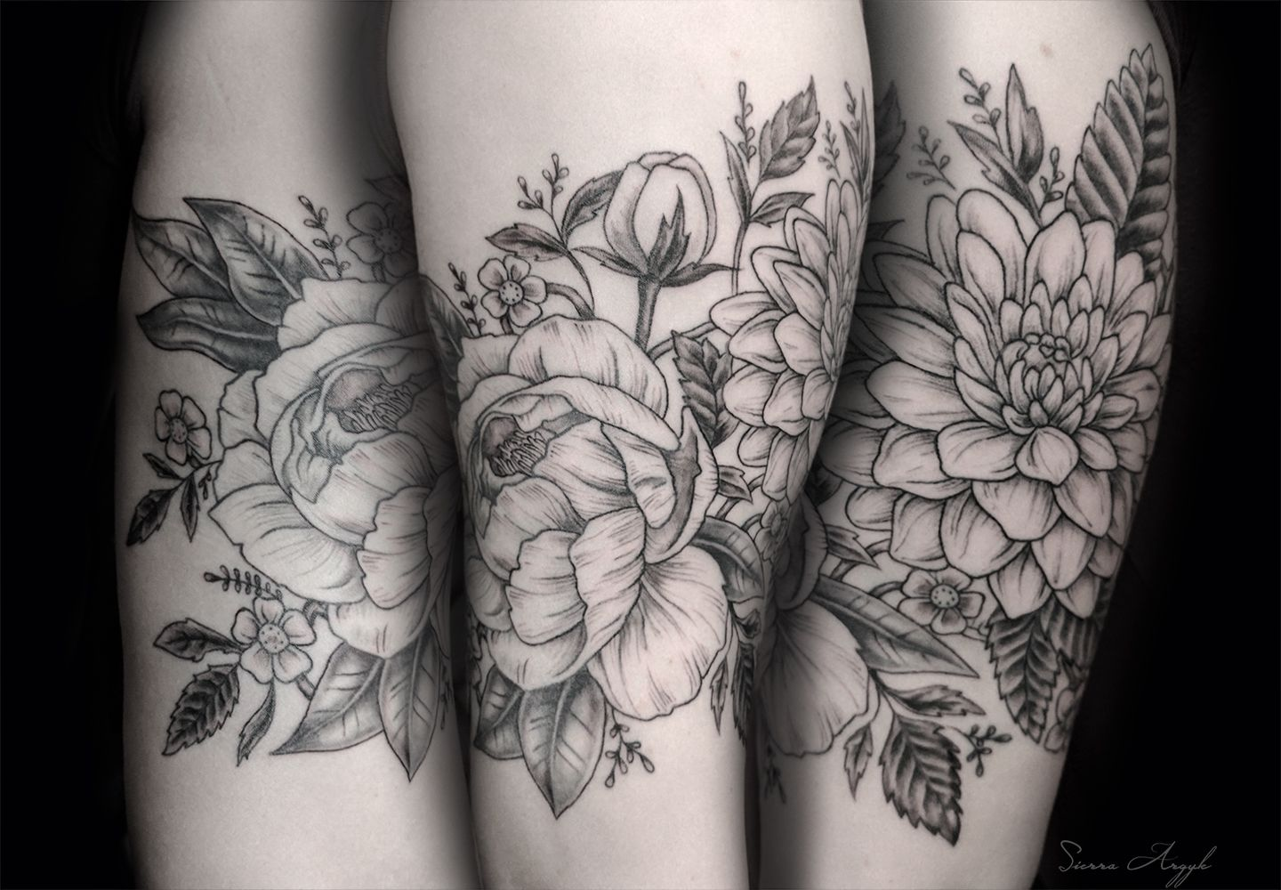 Peonies And Dahlia Tattoo By Sierra Argyle At Seattle Ink Oil Floral Tattoo Sleeve Dahlia Tattoo White Flower Tattoos