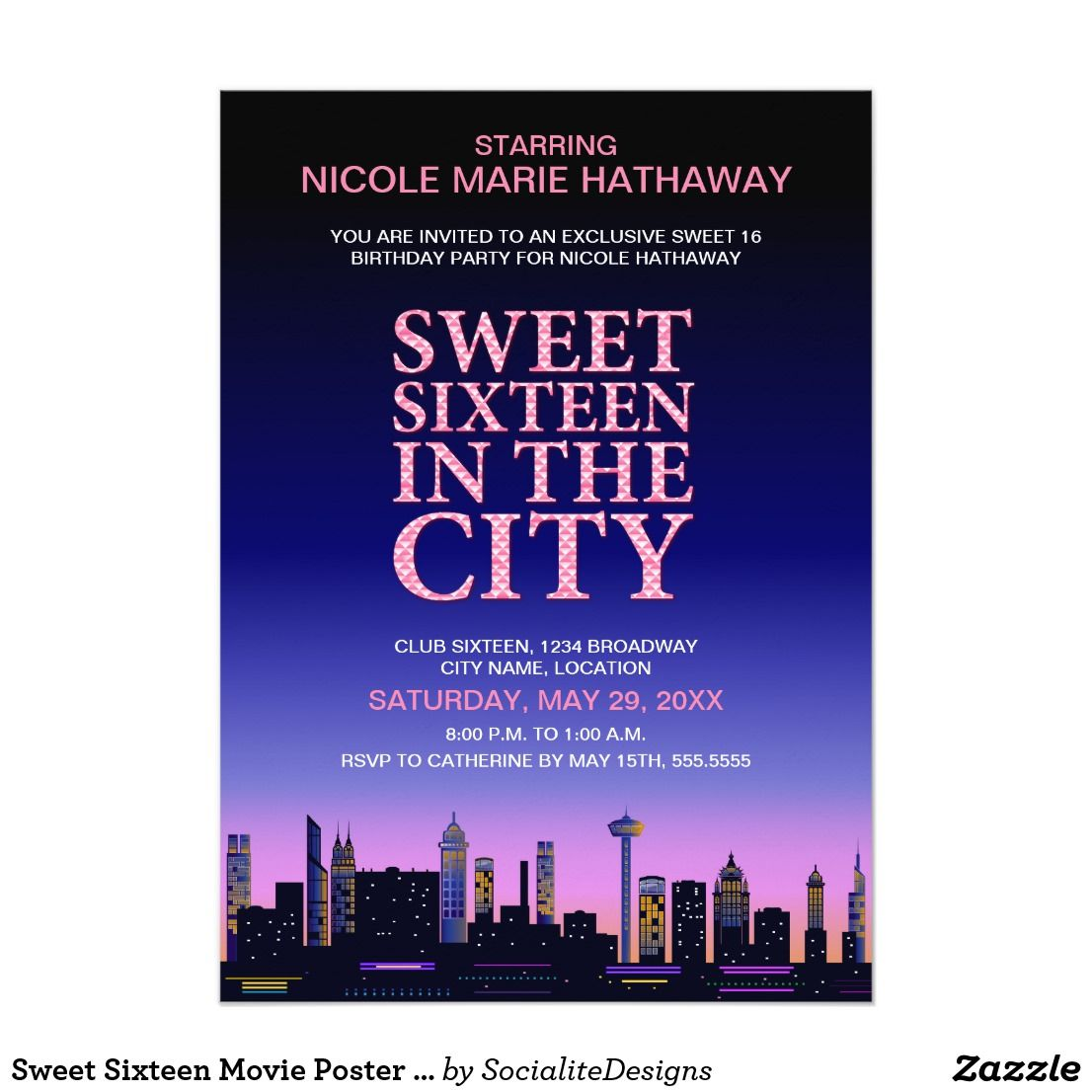 Sweet Sixteen Movie Poster Party Invitation | Sweet 16 birthday ...