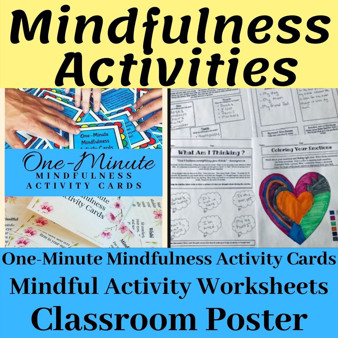 One Minute Mindfulness Cards And Activity Worksheets