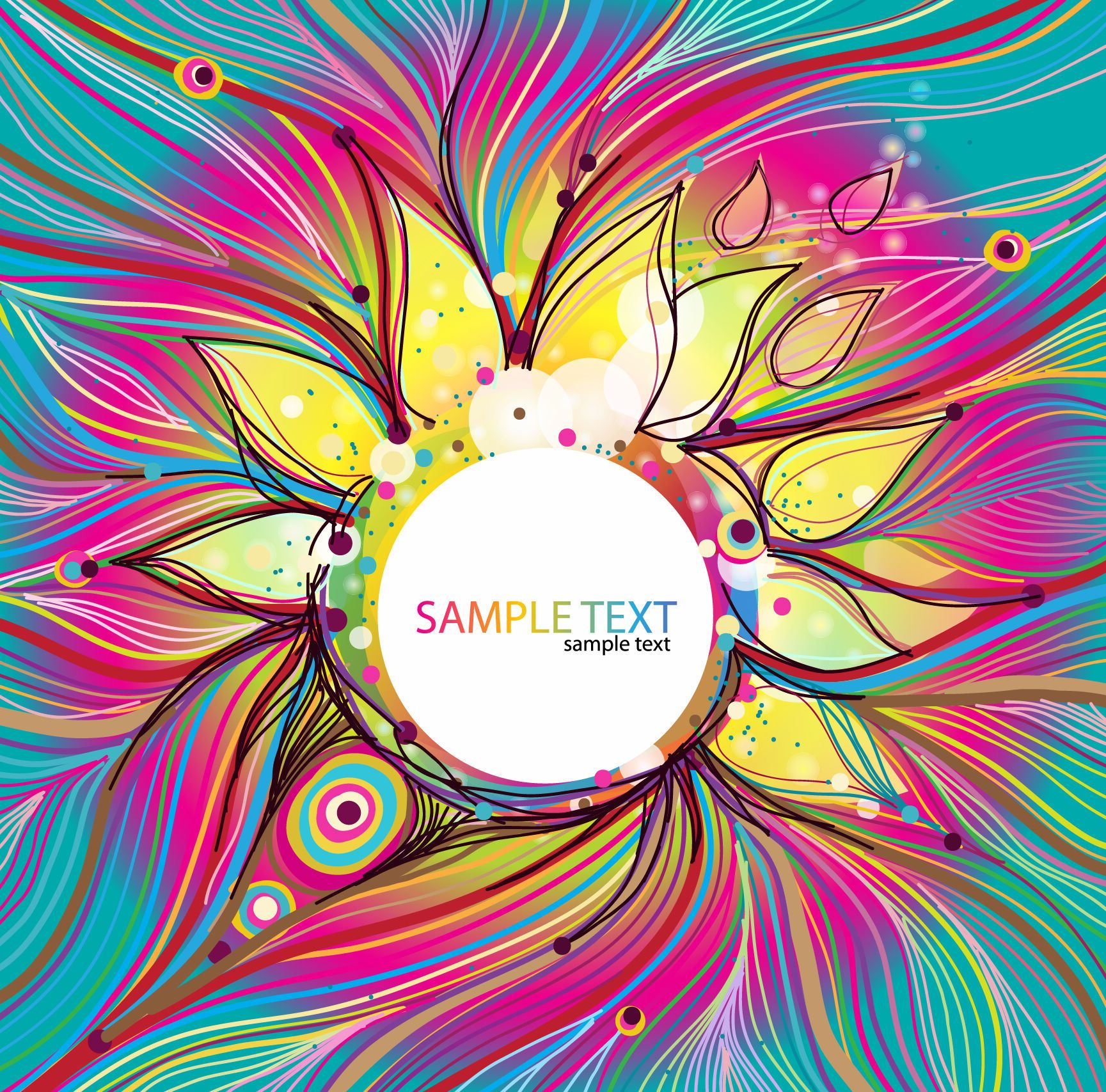 Abstract Colorful Floral Vector Background