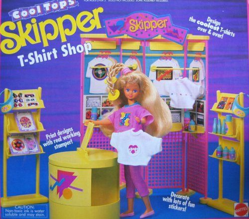 Barbie Cool Tops SKIPPER T-Shirt Shop Playset w Real Stamper (1989 ...
