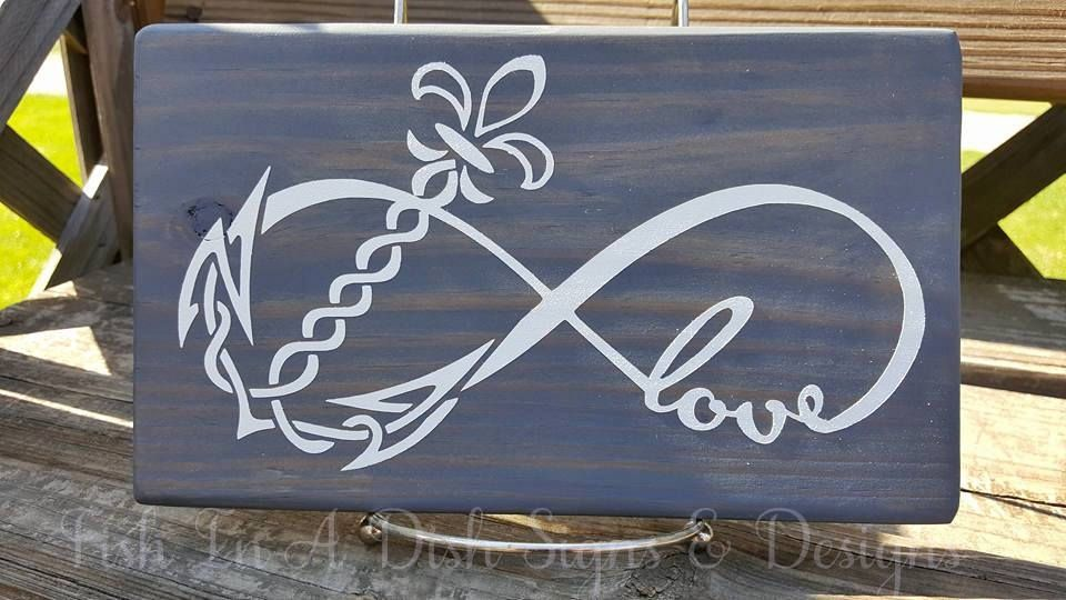 Infinity Symbol Love Fleur De Lis Wall Decor Home Wood Sign Zen Custom Art Anchor Infinite