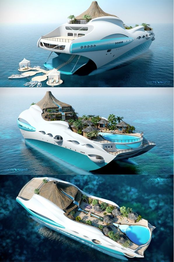 Yacht Island yauct with waterfall on it | the 'tropical island paradise' yacht