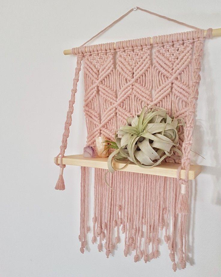 #Hanging #Macrame #Pink #Shelf Blush pink cotton macrame shelf by Green Lane Creative. Available on Folksy.
