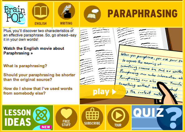 Brainpop Paraphrasing Classroom Writing Research Skill Teaching