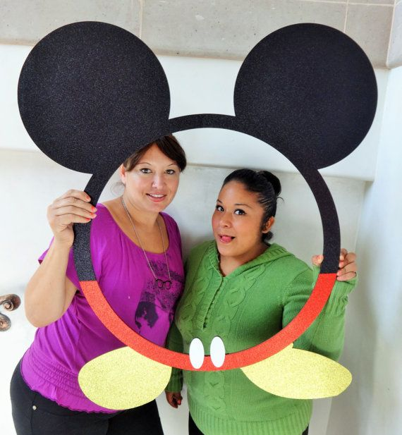 Mouse Ears Frame for Photo Booth Props Mdf Frame with Glitter Foamy ...