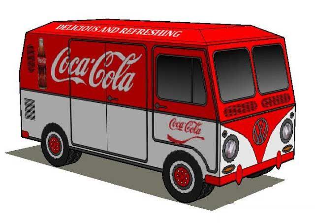 Coca-Cola Volkswagen Kombi Type II Lowrider Free Paper Model Download - http://www.papercraftsquare.com/coca-cola-volkswagen-kombi-type-ii-lowrider-free-paper-model-download.html#CocaCola, #Lowrider, #Volkswagen, #VolkswagenType2