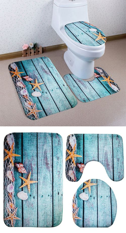 Home DecorFlannel Bath Toilet Mat Set Bath Mats Pinterest - Toilet mat set for bathroom decorating ideas