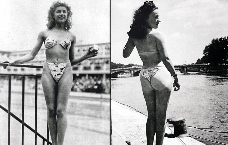 """O primeiro biquíni  foi lançado no dia 26 de junho de 1946 onde realmente explodiu como uma bomba, ele foi tão polêmico, que os jornais da época o apelidaram de """"quatro triângulos de nada"""", é tanto que, quando foi marcado o desfile de estreia todas as modelos se recusaram a entrar na passarela com eles (e olhe que comparado as de hoje eles eram bem mais comportados) a única mulher de fato corajosa para utilizar e fazer propaganda dele foi uma stripper chamada  Micheline Bernardini. O…"""
