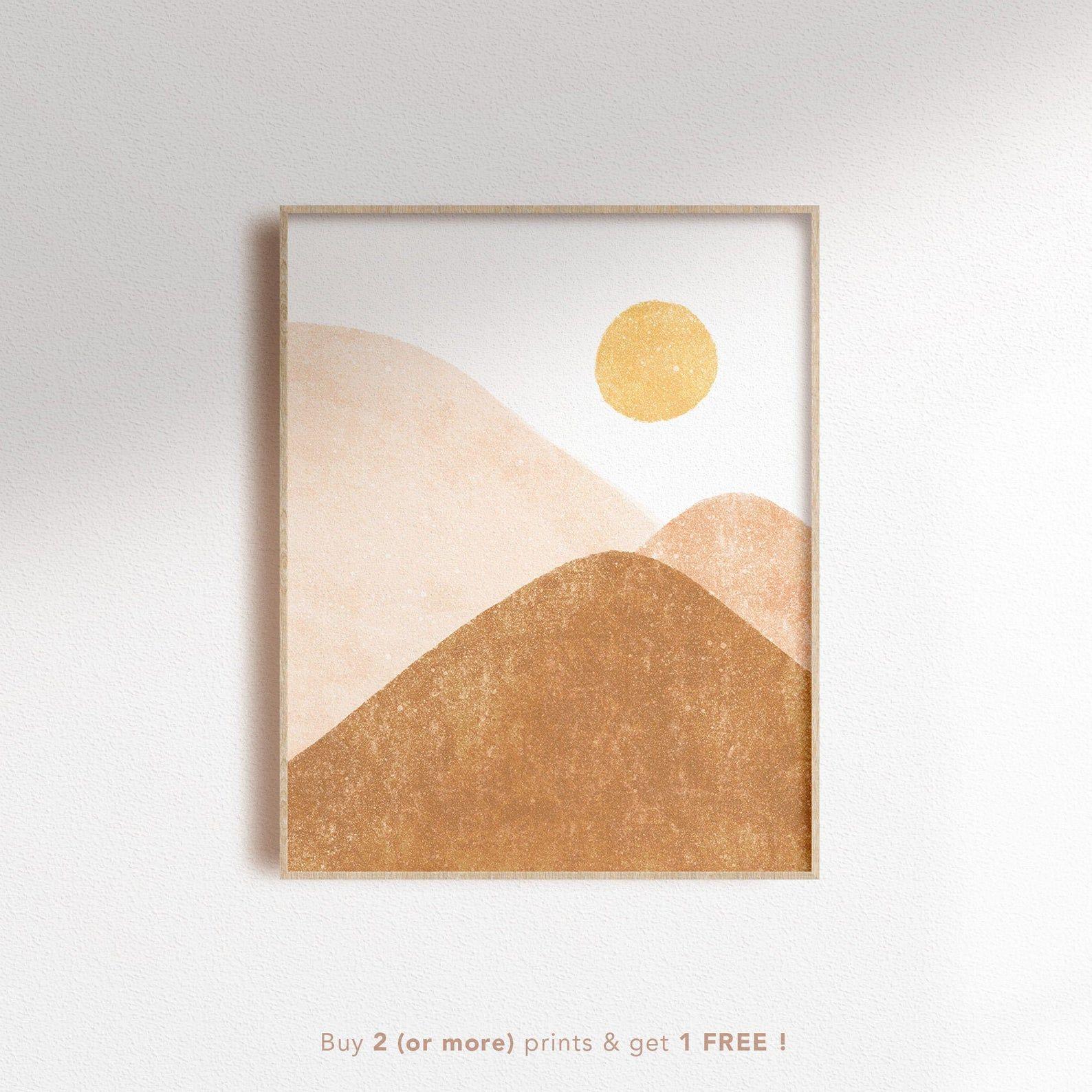 Neutral Sunshine Scenery Digital Art Print Boho Mountain Sun Etsy In 2020 Digital Art Prints Art Prints Digital Wall Art