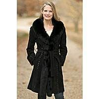Women's Felicity Suede Coat with Fox Fur Trim, BLACK BLACK, Size SMALL (2/4)