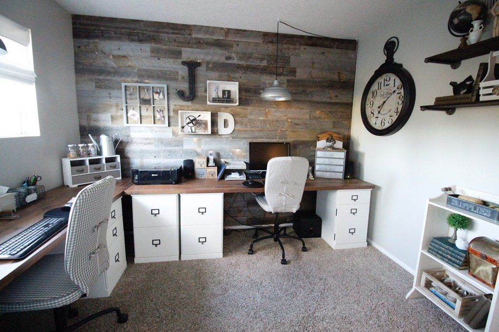 A Home Office With Custom Desks That Use Filing Cabinets And Are Set Against A Modern Wood Wall Design Your Home Home Office Space Diy Reclaimed Wood Wall