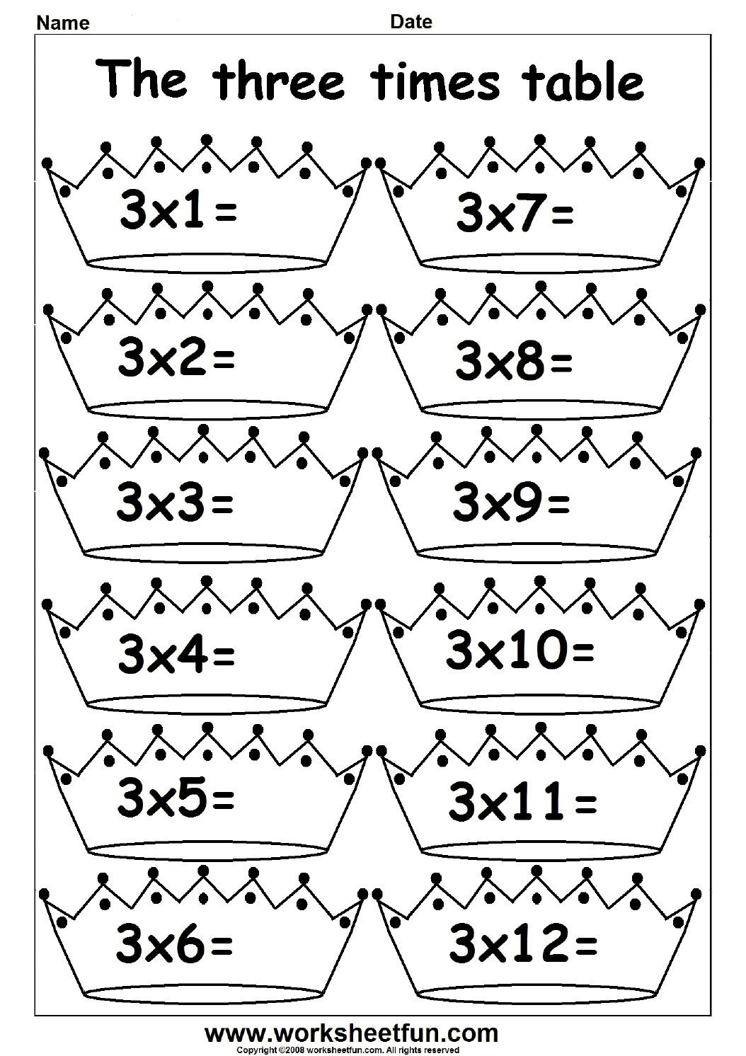 2 Maths Times Tables Worksheets 2 3 4 5 6 7 8 9 10 11 And