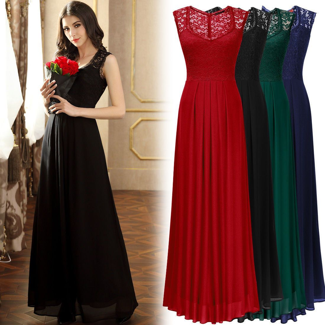 c413df1ebe63 Womens Long Chiffon Lace Formal Evening Prom Party Bridesmaid Wedding Maxi  Dress
