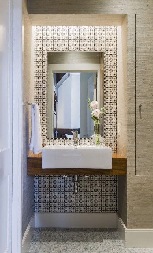 wood Wallpaper Ceiling Powder Rooms #modernpowderrooms