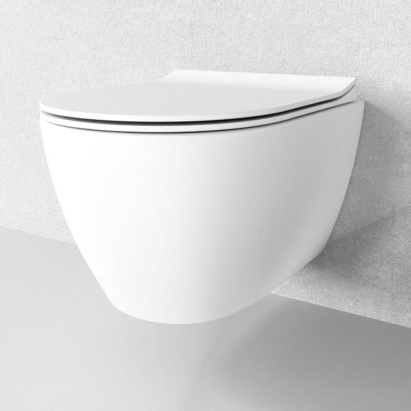 Wand-WC WC-Sitz Toilette Absenkautomatik Tiefspüler Hänge WC spülrandlos Keramik