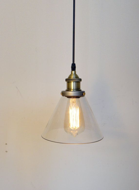 Glass cone pendant light edison antique lamp kitchen island ceiling rustic glass modern pendant light industrial kitchen island lighting by hangoutlighting 9500 aloadofball Choice Image