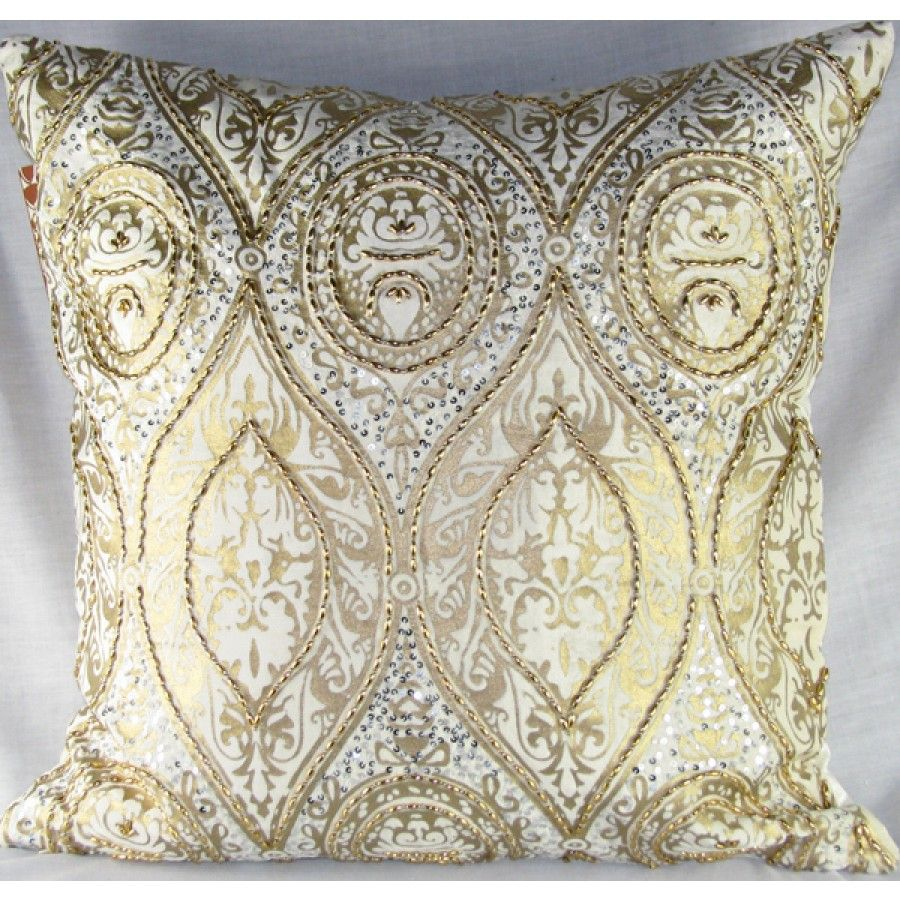 Astonishing Design Accents Medium Velvet Pillow In Ivory And Gold Anai Home Interior And Landscaping Dextoversignezvosmurscom