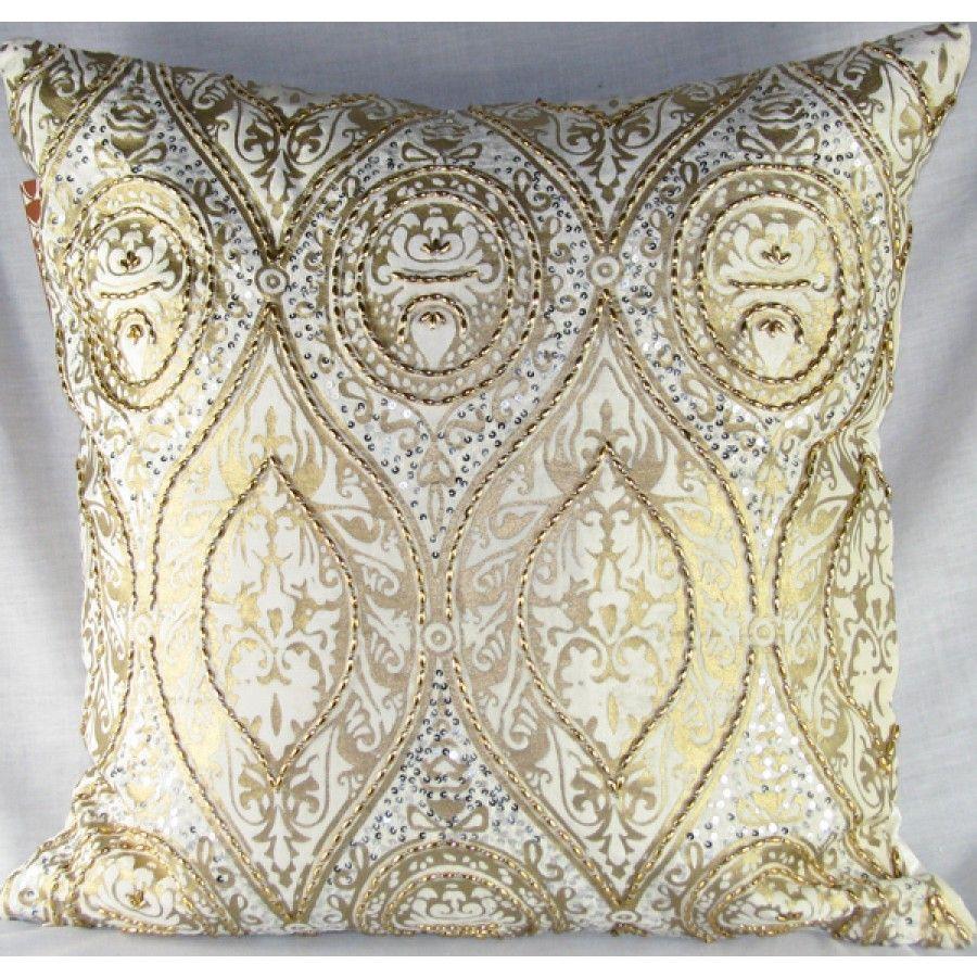 design accents medium velvet pillow in ivory and gold  anai  - design accents medium velvet pillow in ivory and gold  anai baroque b