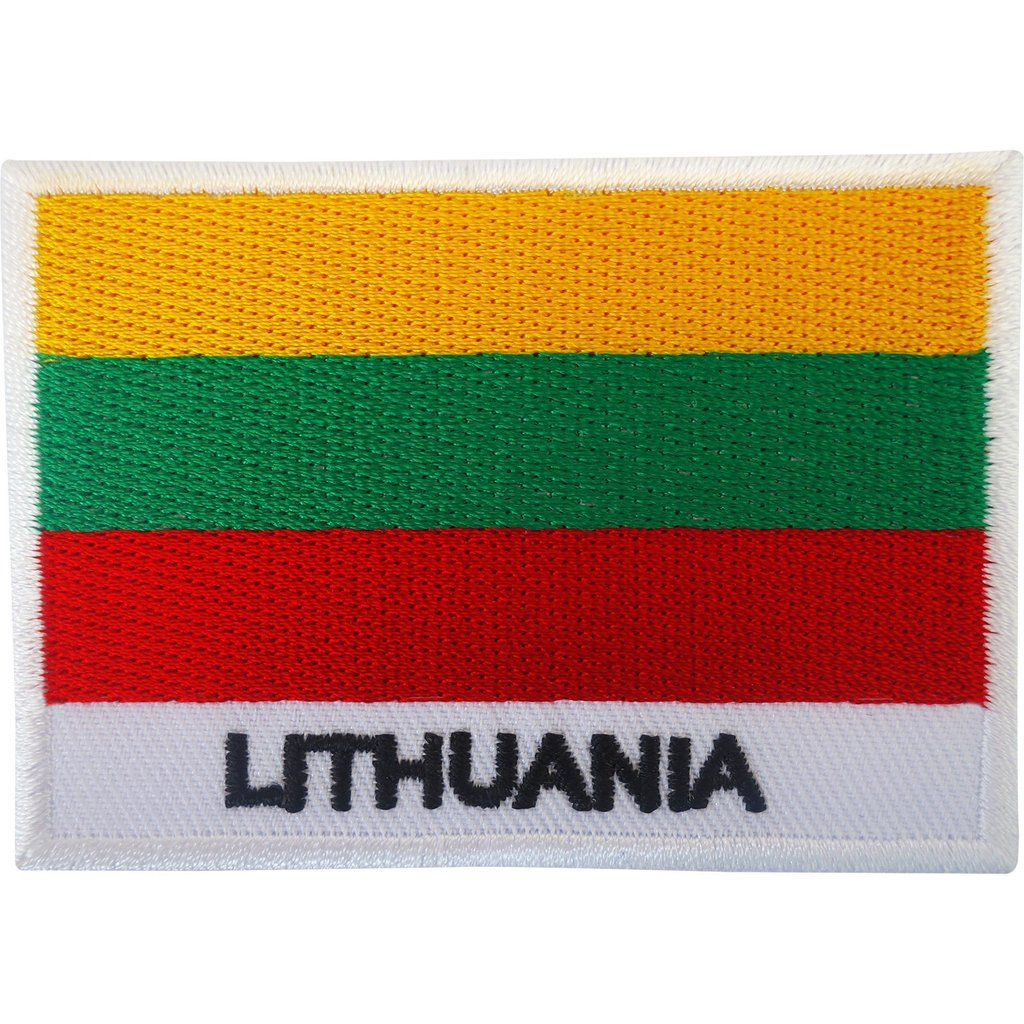 "LITHUANIA FLAG IRON ON PATCH 3/"" Embroidered Applique Lithuanian Pride Europe NEW"