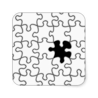 The Missing Puzzle Piece Pattern Square Sticker  Symbols