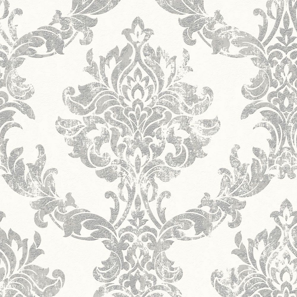 Graham & Brown Vinyl Opal Damask White and Silver