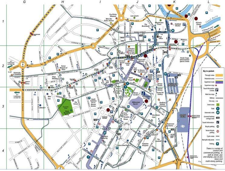 Sheffield transport map   Transport map, Map, Transportation