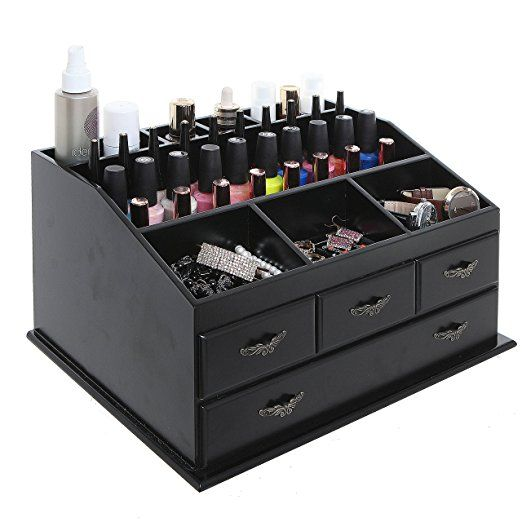 Wood Dresser Top Vanity Cosmetic Organizer Chest Box Countertop