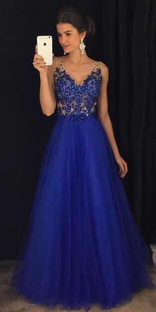 Gorgeous A Line V Neck Open Back Royal Blue Lace Long Prom Dresses With Beading CR 778 #bluepromdresses