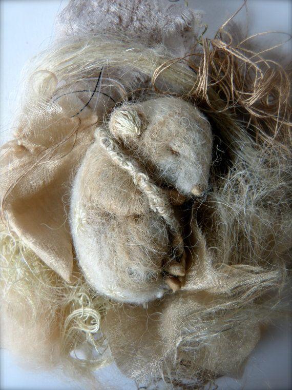 Needle Felted Sleeping Cinnamon Alpaca Mouse by ThePaleRook
