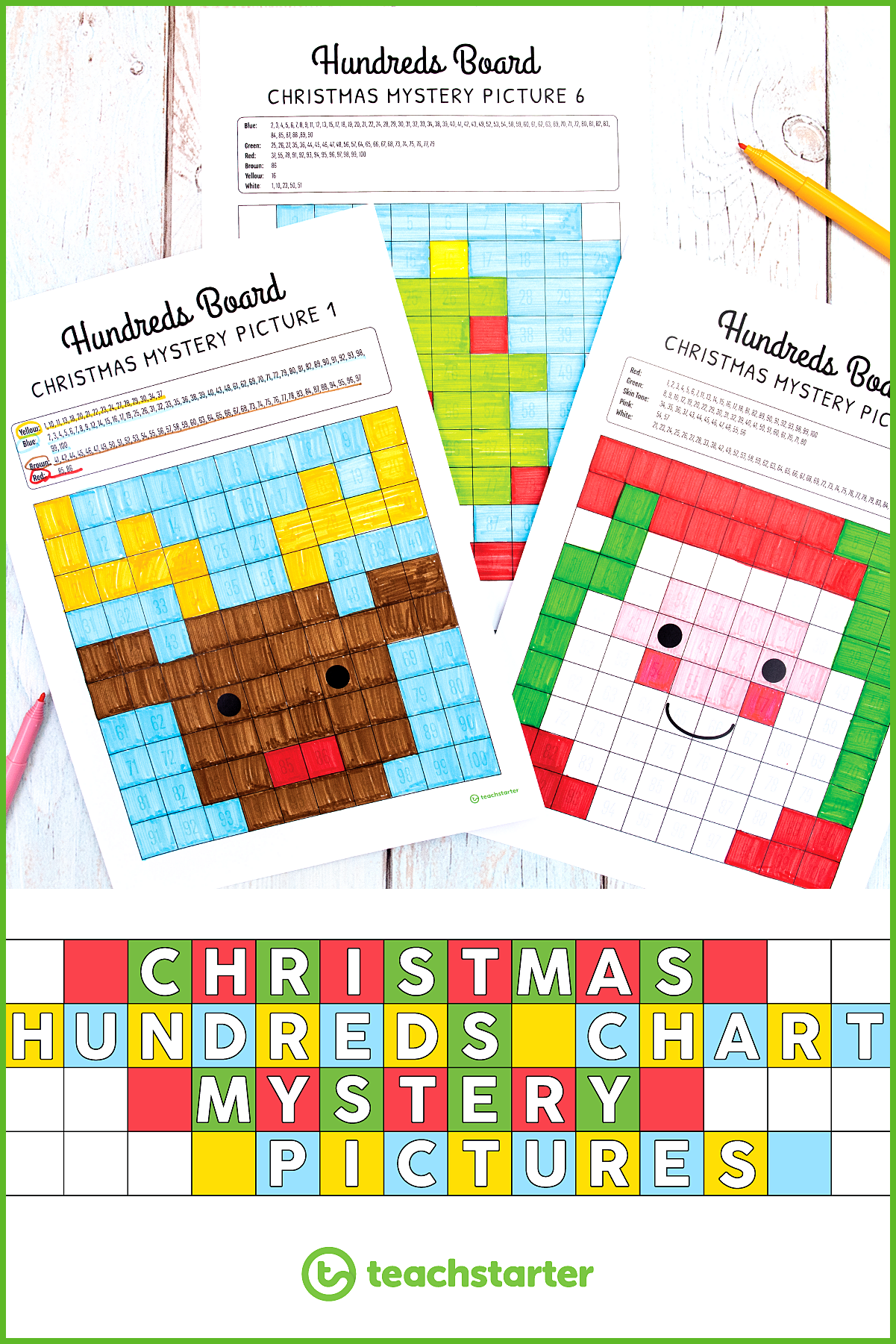 Christmas Activities for the Classroom Hundreds chart mystery picture activities require students t