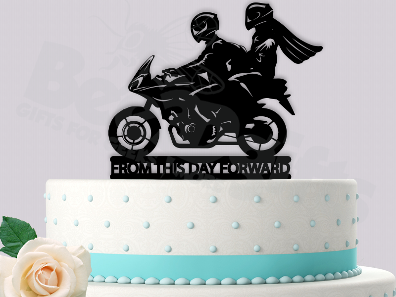 Motorcycle From This Day Forward Wedding Cake Topper Davidson