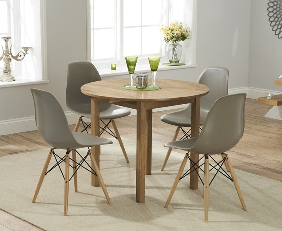 Oxford 90cm Solid Oak Drop Leaf Extending Dining Table With Black Charles Eames Style Dsw Eiffel